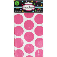 10 Pink Polka Dot Paper Favour Bags