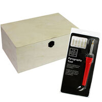 Pyrography Tool and Rectangle Natural Wooden Box: 30 x 20 x 13cm Bundle