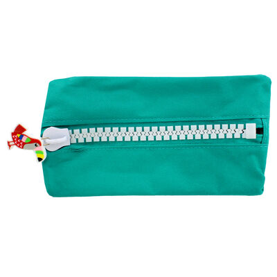 Green Canvas Oversized Zip Pencil Case image number 2