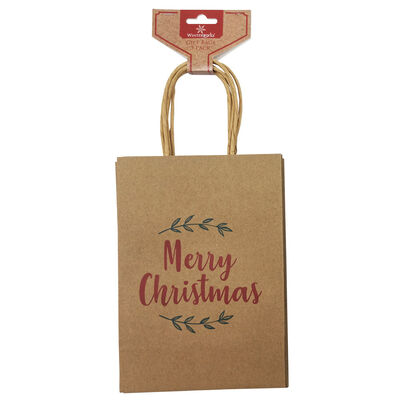 Assorted Kraft Small Christmas Gift Bags: Pack of 3 image number 1