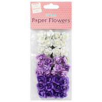 Purple and White Paper Flowers - 36 Pack