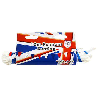 Red, White and Blue 10m Pennant Bunting image number 1