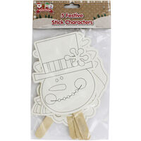 Colour Your Own Festive Stick Characters - 5 Pack