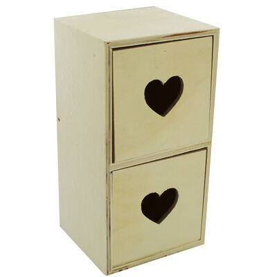 Wooden 2 Drawer Heart Cut Out Set image number 1