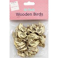 60 Wooden Birds - Natural