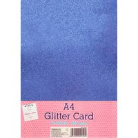 A4 Tranquillity Blue Glitter Card: Pack of 10