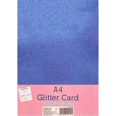 A4 Tranquillity Blue Glitter Card: Pack of 10 image number 1