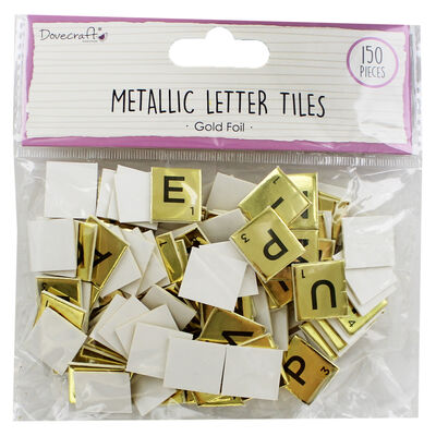 Dovecraft Essentials Metallic Letter Tiles - Gold - 150 Pieces image number 1
