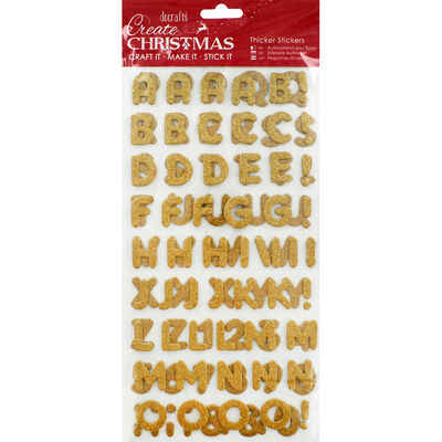 Gold Glitter Letters Thick Christmas Stickers image number 1