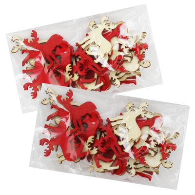 Wooden Christmas Reindeer Embellishments: Pack of 50