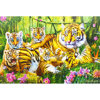 Family of Tigers 500 Piece Jigsaw Puzzle image number 4
