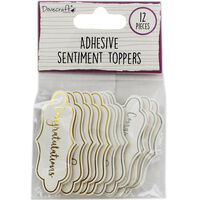 Dovecraft Essentials Die Cut Toppers - Congratulations - 12 Pack