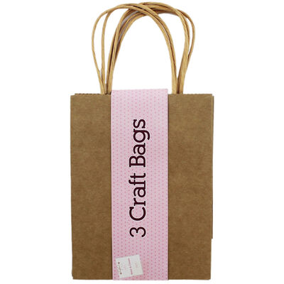 Brown Craft Gift Bags - Pack Of 3 image number 1