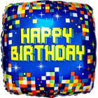 18 Inch Square Pixel Happy Birthday Helium Balloon image number 1