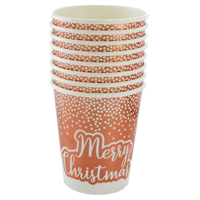 Rose Gold Foil Dot Merry Christmas Paper Cups - 8 Pack image number 1