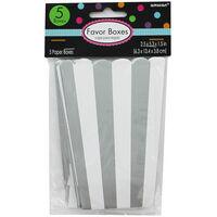 5 Silver Striped Paper Popcorn Favour Boxes