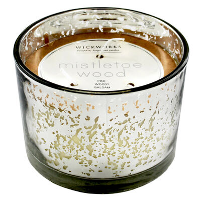 Silver 3 Wick Mistletoe Wood Scented Speckled Glass Candle image number 1