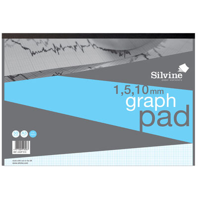 Silvine A3 Graph Paper: 1-5-10mm image number 1