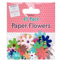 Assorted Glitter Paper Flowers: Pack of 45