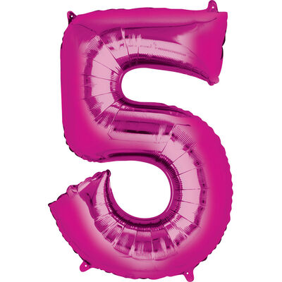 34 Inch Pink Number 5 Helium Balloon image number 1