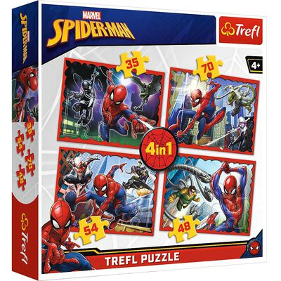 Spiderman 4 in 1 Jigsaw Puzzle Set image number 1