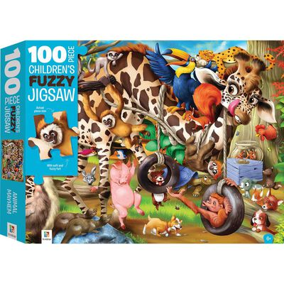 100-Piece Children's Fuzzy Jigsaw: Animal Mayhem image number 1