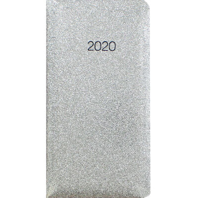 Silver Glitter 2020 Slim Week to View Pocket Diary image number 1