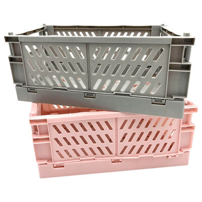 Grey and Pink Foldable Storage Crates: Pack of 2 image number 1