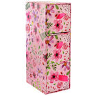 Pink Floral 3 Drawer Desk Organiser image number 1