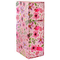 Pink Floral 3 Drawer Desk Organiser