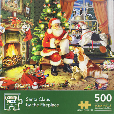 Santa Claus By The Fireplace 500 Piece Jigsaw Puzzle image number 2