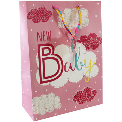 Large Pink New Baby Glitter Gift Bag image number 1