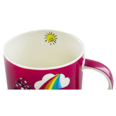 Disney Minnie Mouse Pink Rainbow Ceramic Mug image number 3