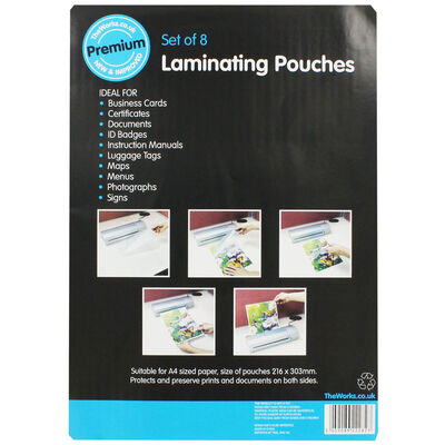 A4 Laminating Pouches - Set Of 8 image number 1