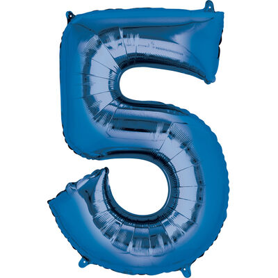 34 Inch Blue Number 5 Helium Balloon image number 1