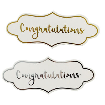 Dovecraft Essentials Die Cut Toppers - Congratulations - 12 Pack image number 2