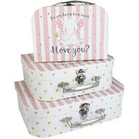 Do You Know How Much I Love You Pink Storage Suitcase: Set Of 3