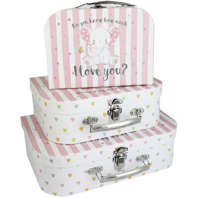 Do You Know How Much I Love You Pink Storage Suitcase: Set Of 3 image number 1