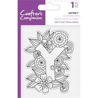 Crafters Companion Clear Acrylic Stamp - Floral Letter Y