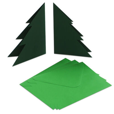 Christmas Tree Cards And Envelopes: Pack of 5 image number 2