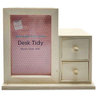 Wooden 2 Drawer Photo Frame Desk Tidy image number 2