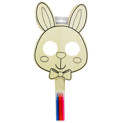 Colour Your Own Wooden Bunny Mask - 2 Pack image number 2