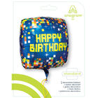 18 Inch Square Pixel Happy Birthday Helium Balloon image number 2