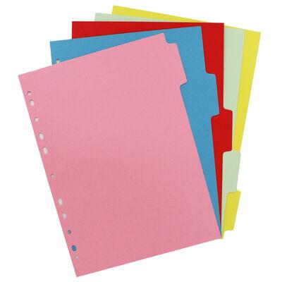 A4 Pukka Essentials Plain Multi-colour Tab Dividers - 5 Pack image number 2