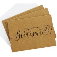 3 Kraft Bridesmaid Cards with Envelopes