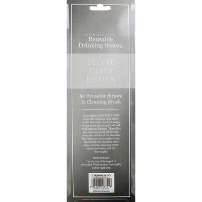 Silver Stainless Steel Reusable Drinking Straws - 8 Pack image number 3