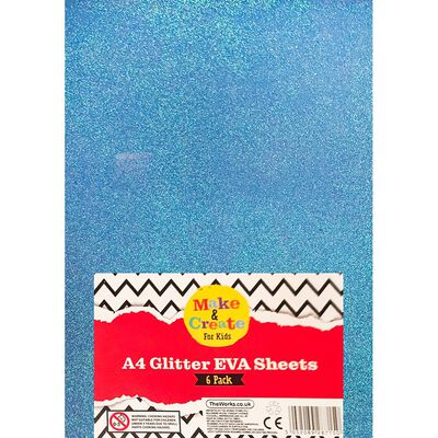 A4 Glitter EVA Sheets - 6 Pack image number 1