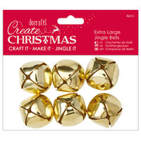 Large Gold Jingle Bells: Pack of 6
