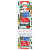 Christmas Tags Decoupage Papers - 3 Sheets
