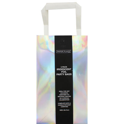 Iridescent Foil Party Bags - 5 Pack image number 1